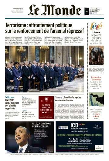 Le Monde du Vendredi 29 Juillet 2016