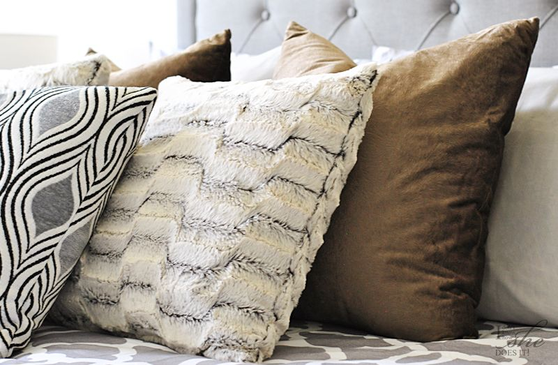 Velvet and faux fur bed pillows