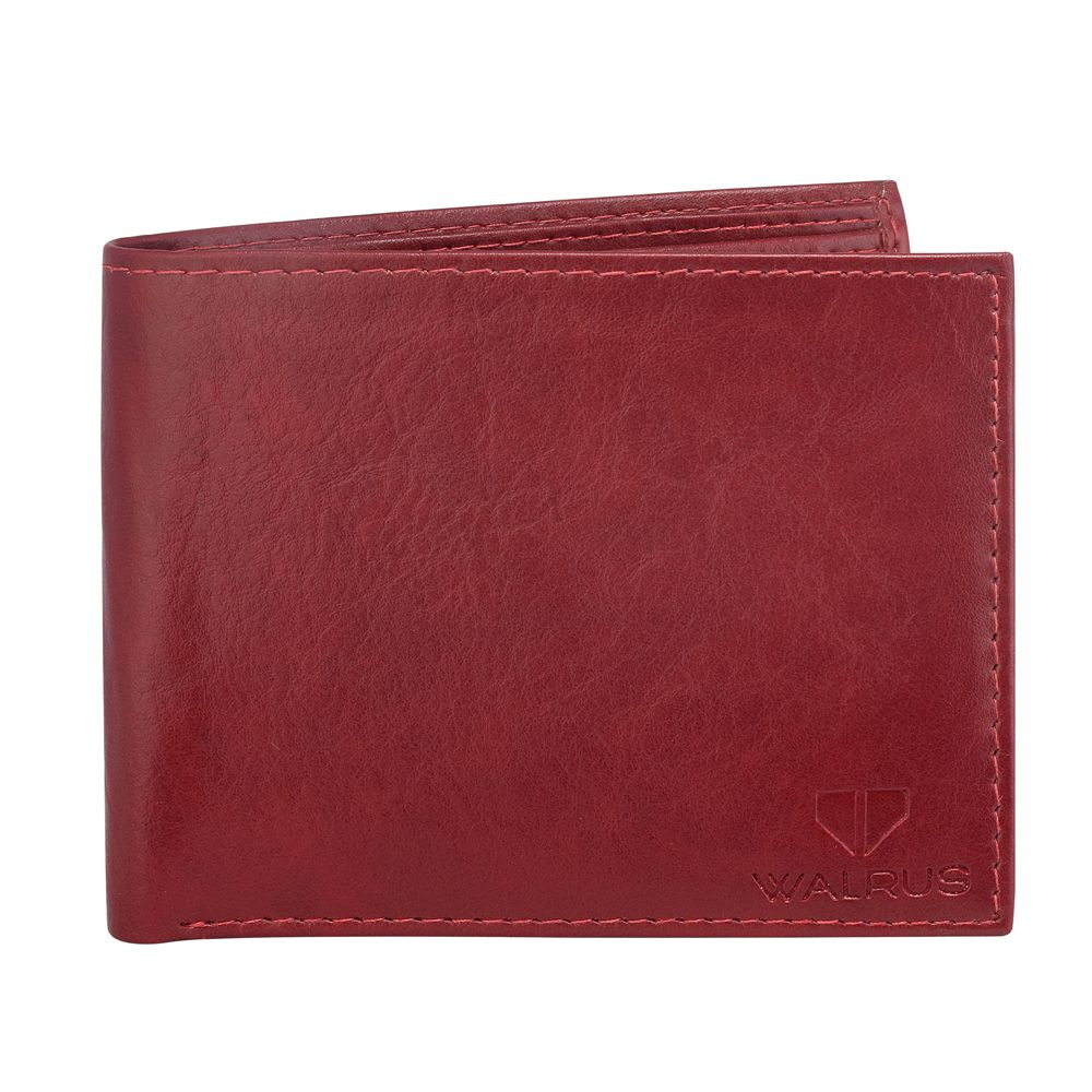 Walrus Logan Red Color Men Leather Wallet- WW-LGN-10
