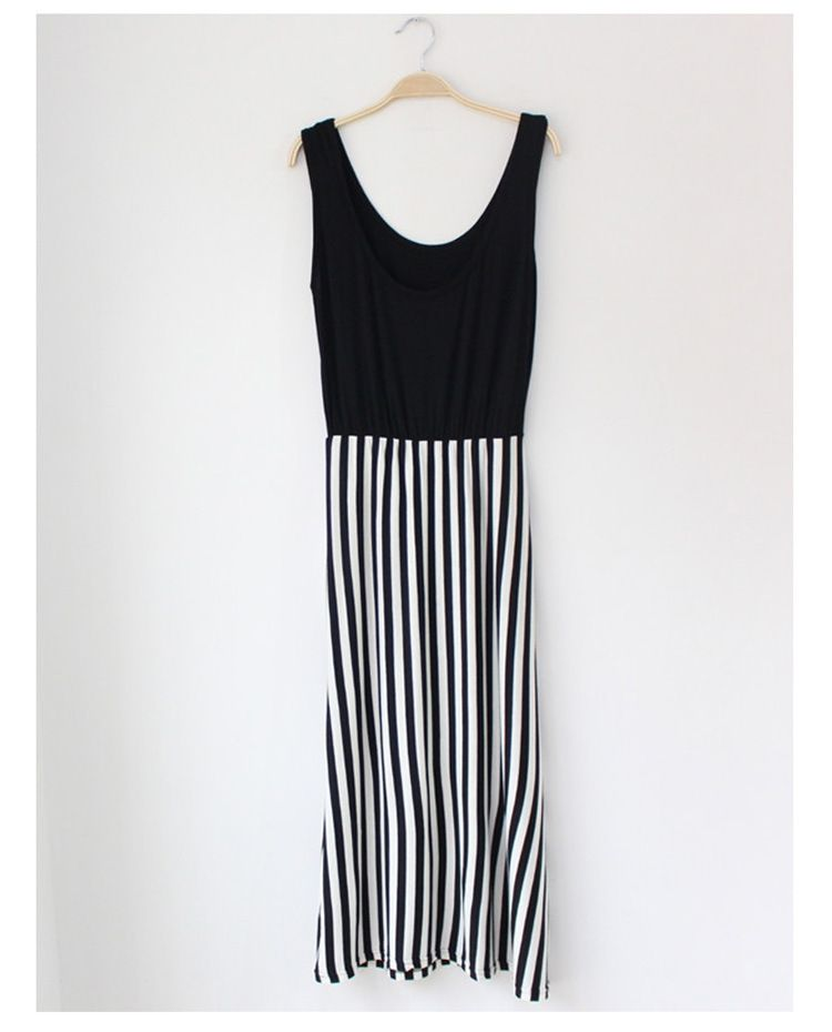 Sexy-Women-Sleeveless-Long-Stripe-One-Piece-Dress-High-Waist-Solid-Vest-Top
