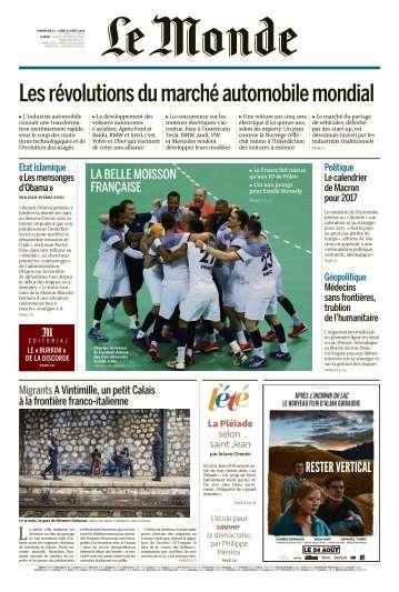 Le Monde du Dimanche 21 et Lundi 22 Août 2016