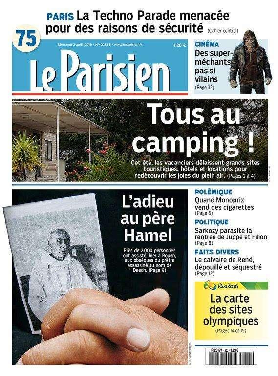 Le Parisien et Journal de Paris du Mercredi 3 Aout 2016
