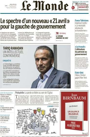 Le Monde du Jeudi 21 Avril 2016