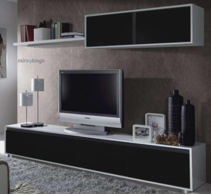Nuevo mueble de salon comedor modular en blanco y negro de for Mueble salon 3 metros
