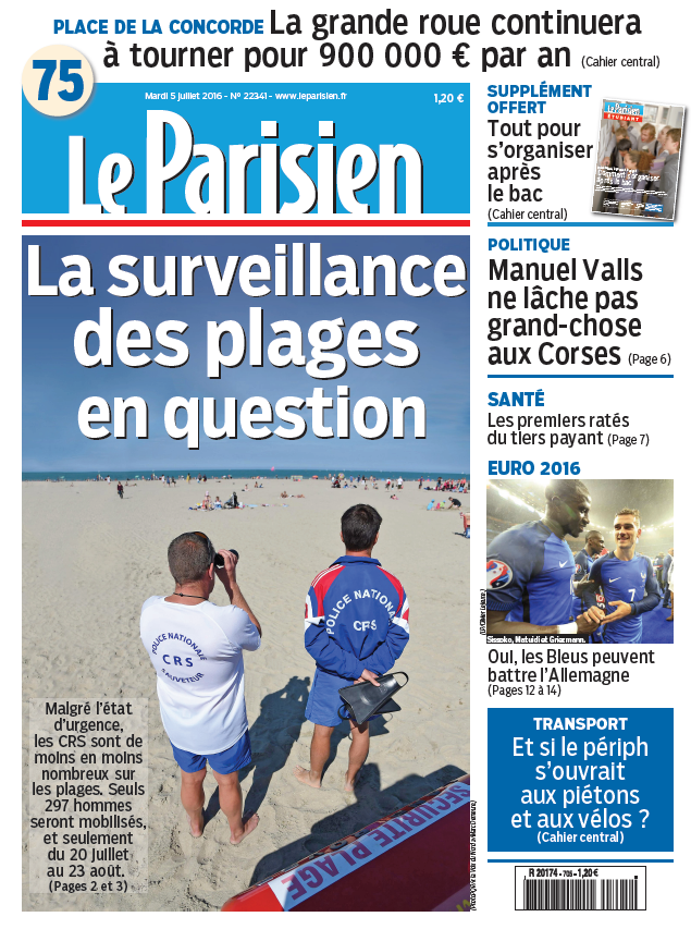 Le Parisien + journal de Paris du Mardi 5 Juillet 2016