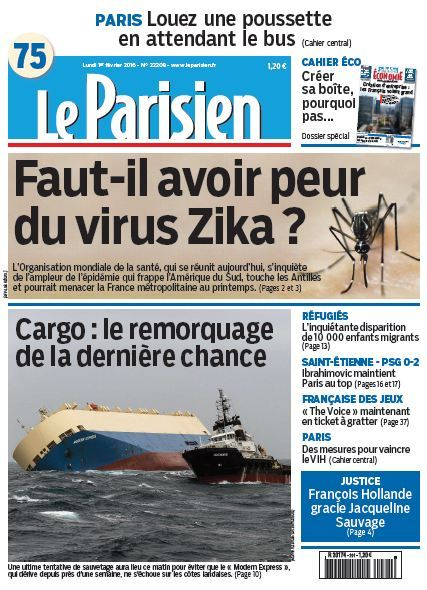 Le Parisien +Journal de Paris du Lundi 1er Fevrier 2016