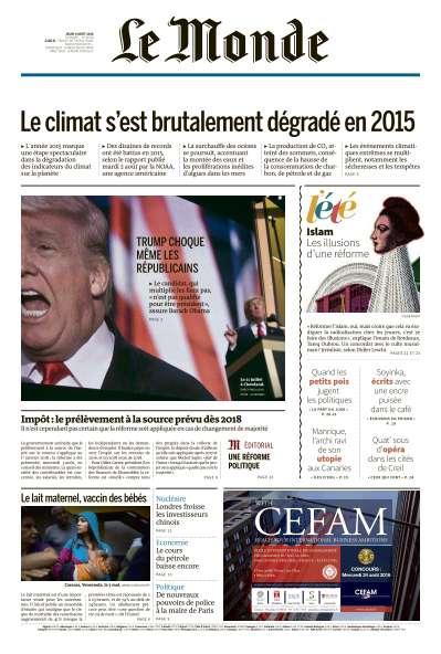 Le Monde du Jeudi 4 Août 2016