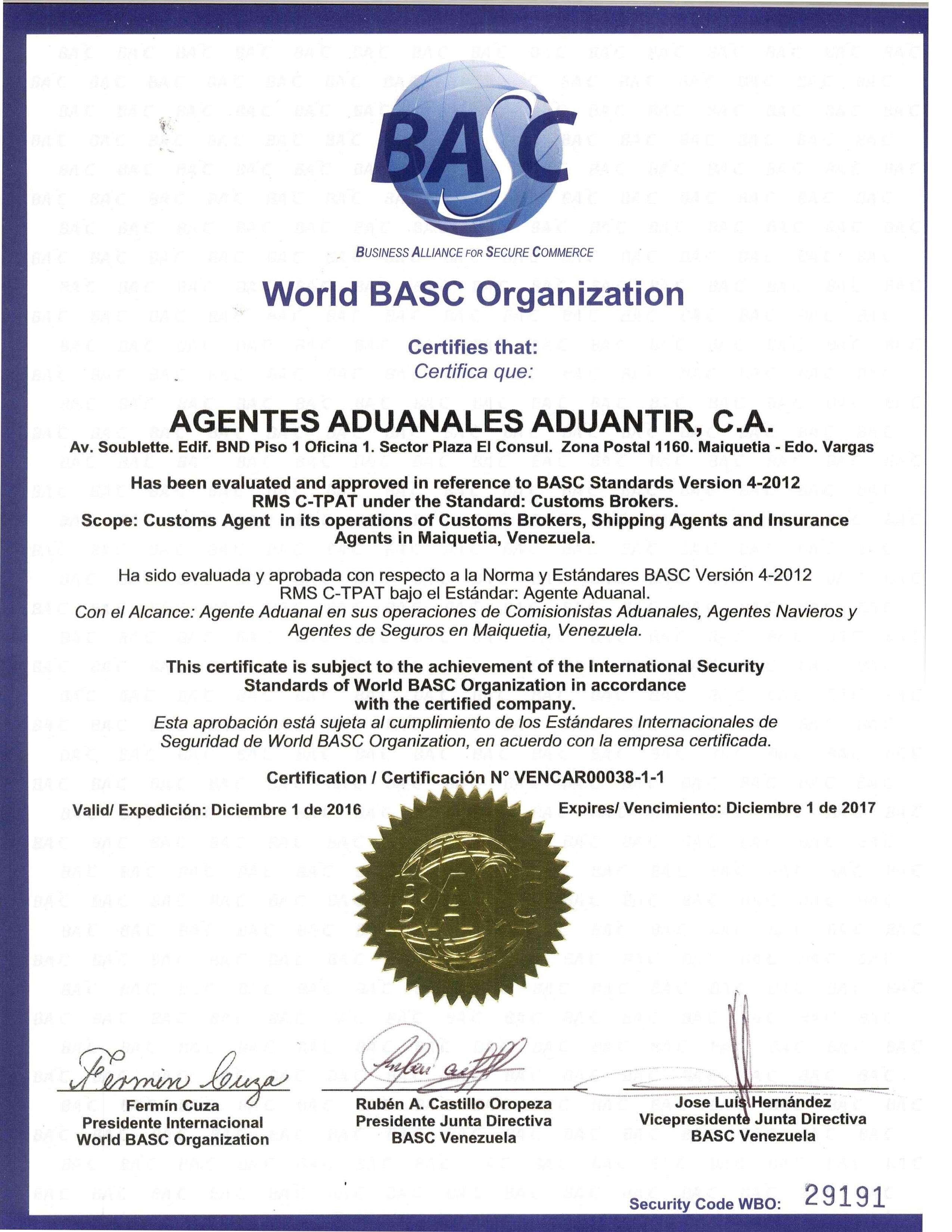 Asombroso La Certificación C TPAT Ideas - certificado buena conducta ...