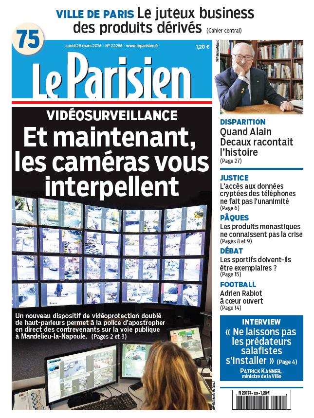 Le Parisien + Journal de Paris du Lundi 28 Mars 2016