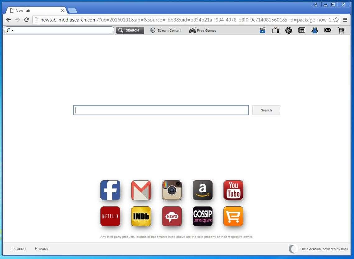 rimuovere Newtab-mediasearch.com