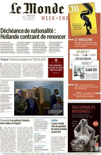 Le Monde du Samedi 19 Mars 2016
