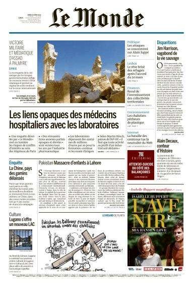 Le Monde du Mardi 29 Mars 2016