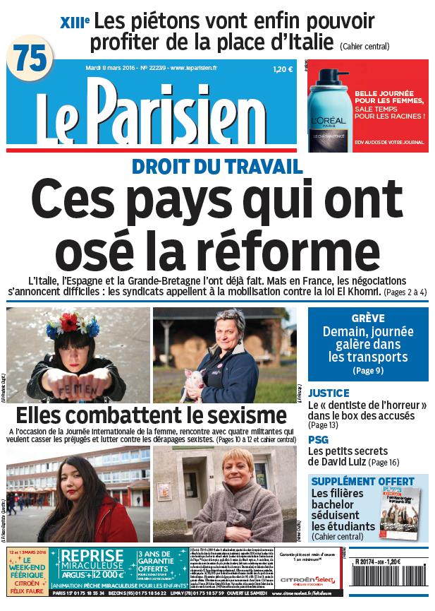 Le Parisien + journal de Paris du Mardi 8 mars 2016