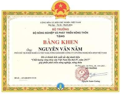 Bằng khen của Tổng Giám đốc - Phó chủ tịch Hội nghề cá Việt Nam Nguyễn Văn Năm