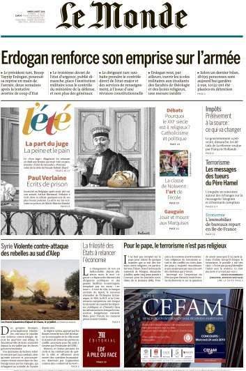 Le Monde du Mardi 2 Août 2016