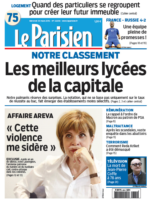Le Parisien + Journal de Paris du Mercredi 30 Mars 2016