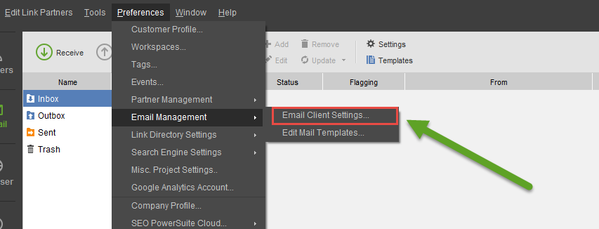 link assistant email settings