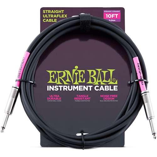 Ernie Ball - Cable para Instrumento, Color: Blanco Tama–o: 3.04 mts. Recto/Ang. Mod.6048