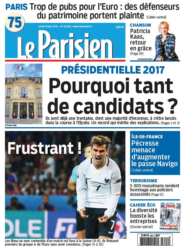 Le Parisien + Journal de Paris du Lundi 20 Juin 2016