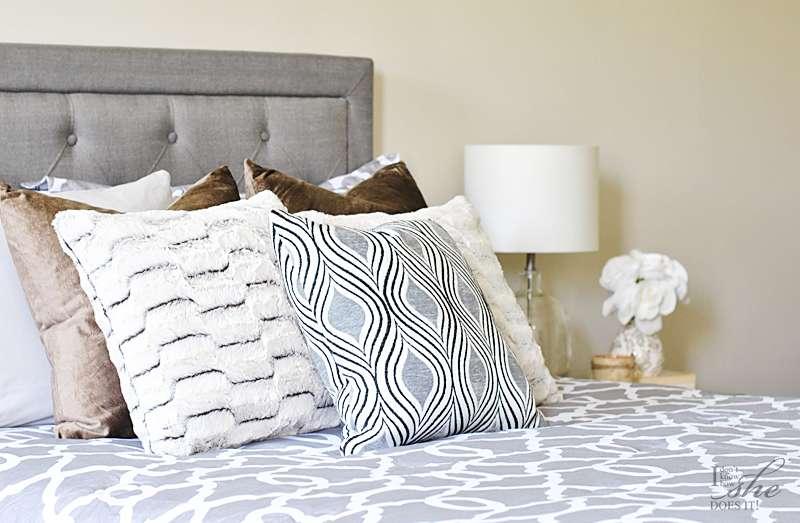 Velvet and faux fur pillows