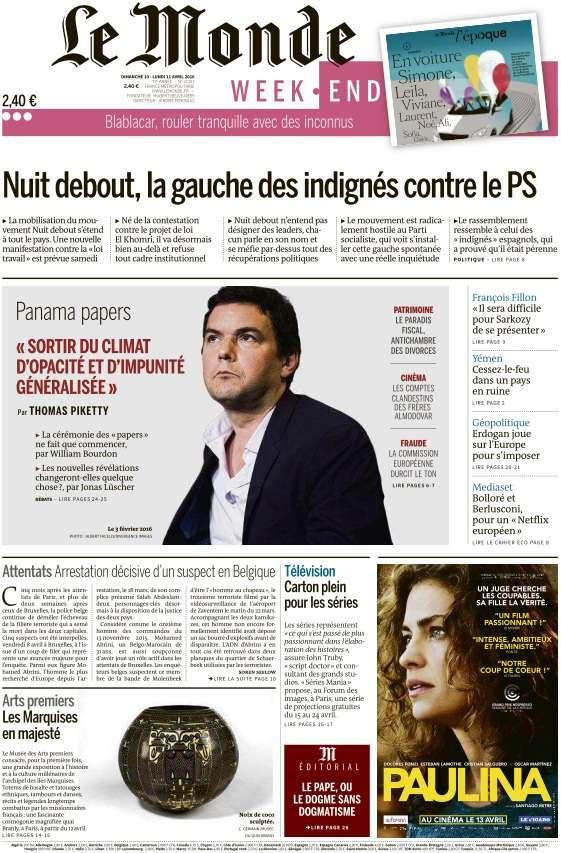 Le Monde du Dimanche 10 et Lundi 11 Avril 2016