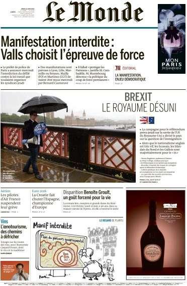 Le Monde du Jeudi 23 Juin 2016
