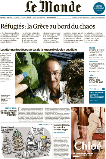 Le Monde du Mercredi 2 Mars 2016