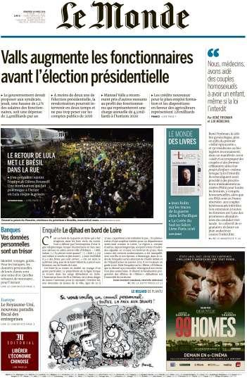 Le Monde du Vendredi 18 Mars 2016