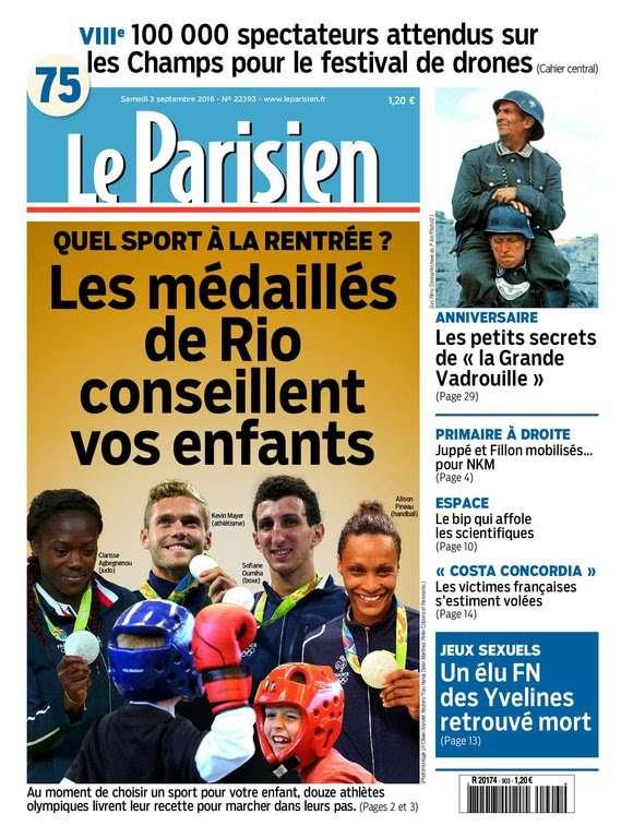Le Parisien et Journal de Paris du Samedi 3 Septembre 2016