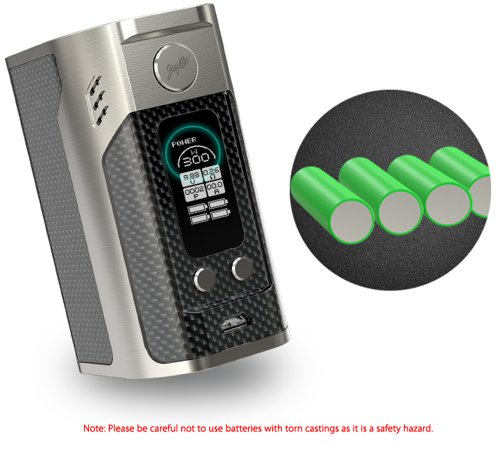 RX300: 300W Maximum Output with Four 18650 Cells