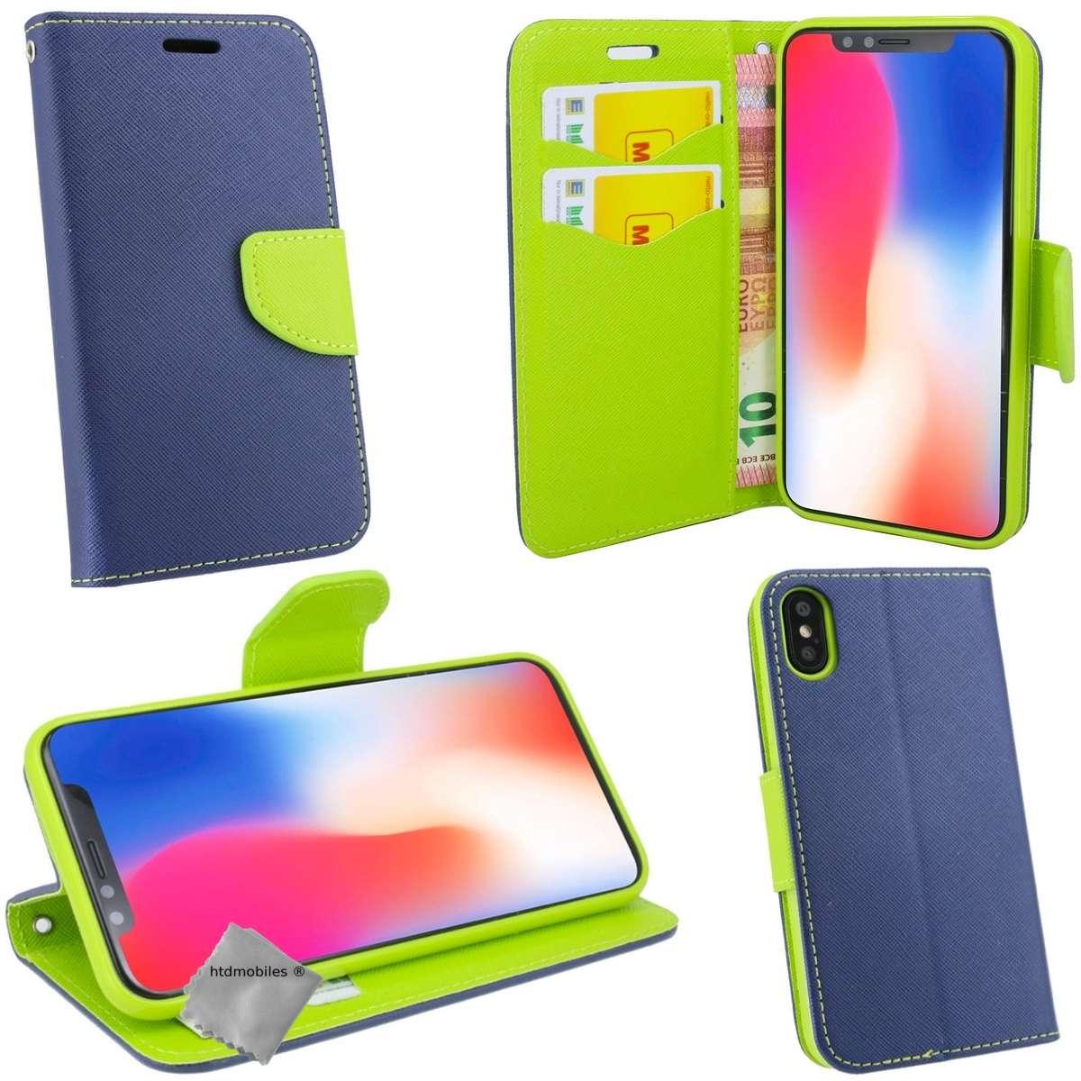 Housse-etui-coque-pochette-portefeuille-pour-Apple-iPhone-X-verre-trempe