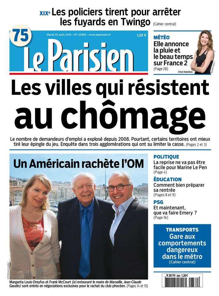 Le Parisien du Mardi 30 Aout 2016