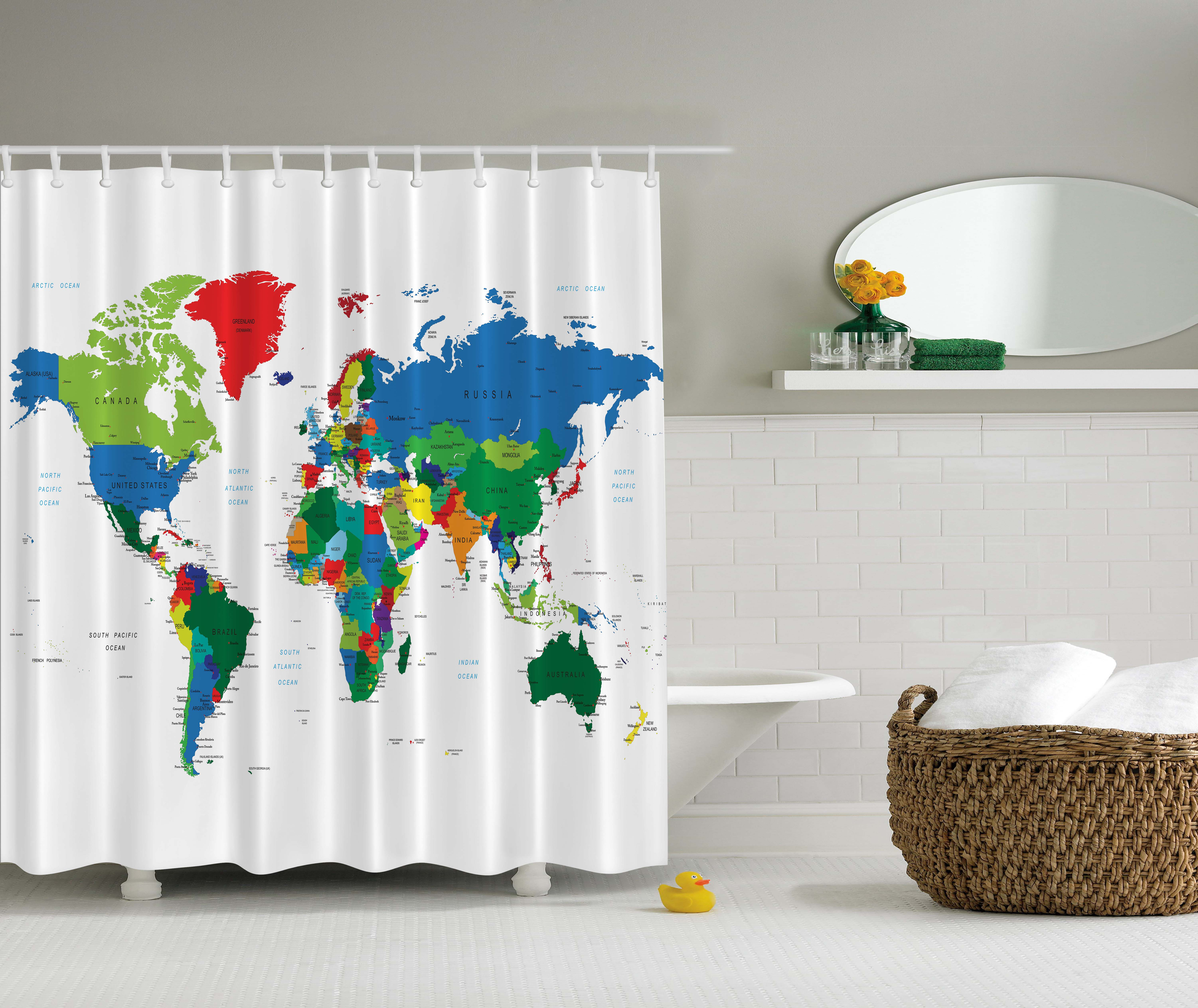World Map Gifts Educational Earth Novelty Bath Accessories Fabric ...