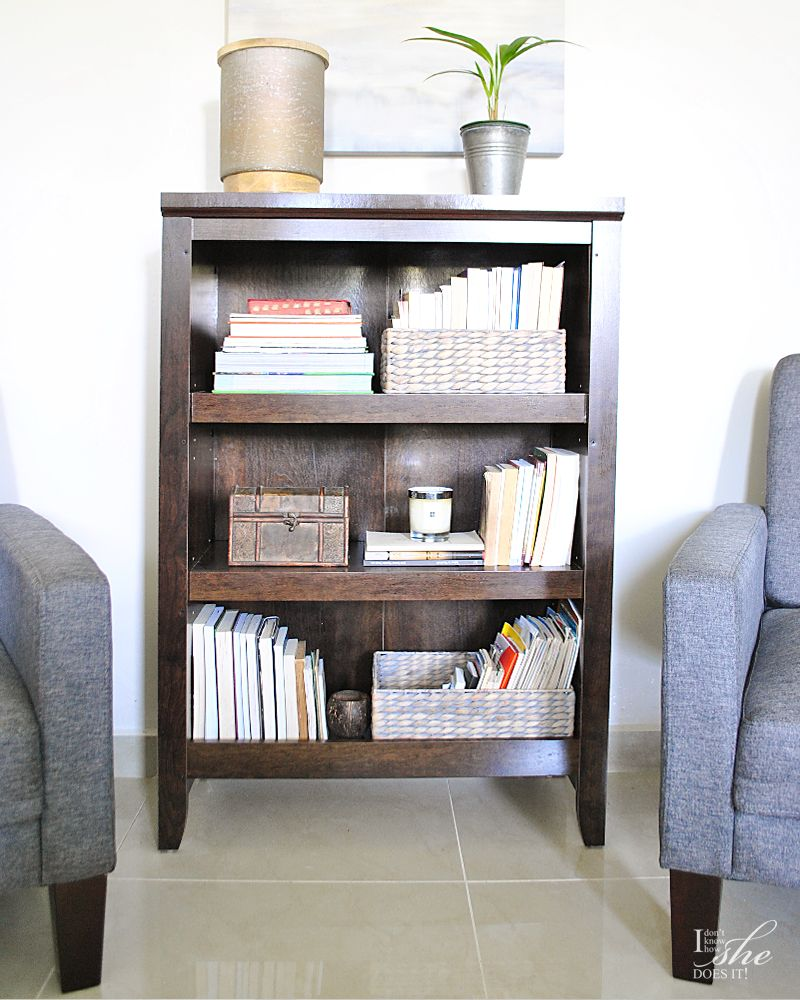 Bookcase in sitting area