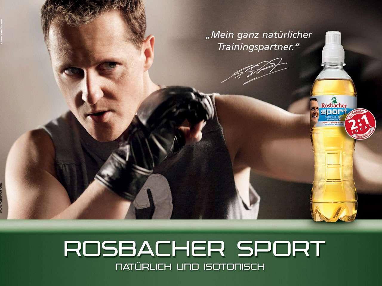 """Michael Schumacher: """"Mein ganz natürlicher Trainingspartner."""" Rosbacher Sport. Natürlich Und Isotonisch."""