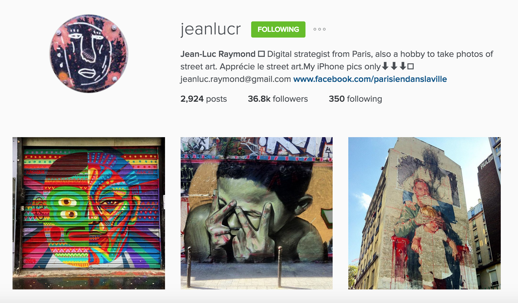 instagram cariboo paris account jean-luc raymond street art