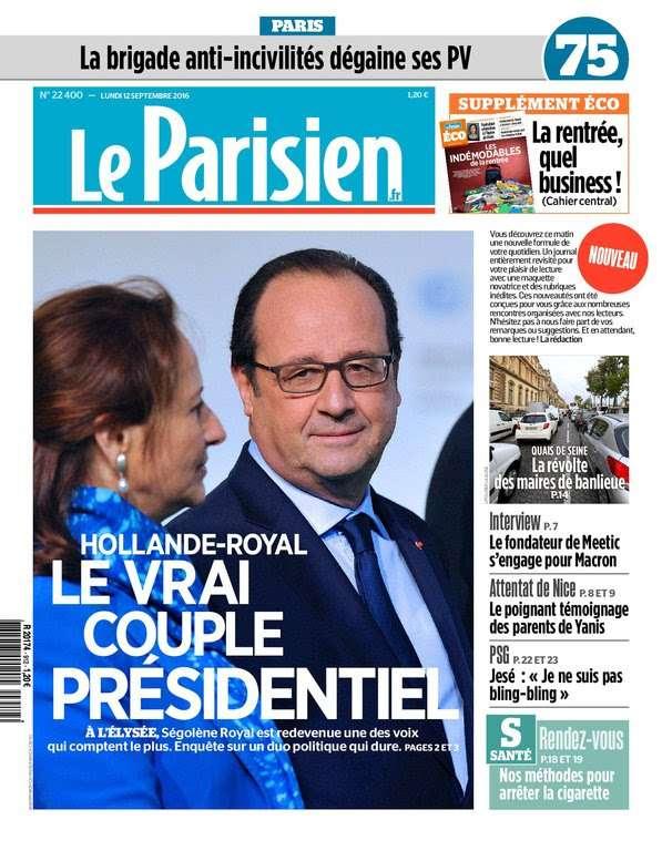 Le Parisien et Journal de Paris du Lundi 12 Septembre 2016