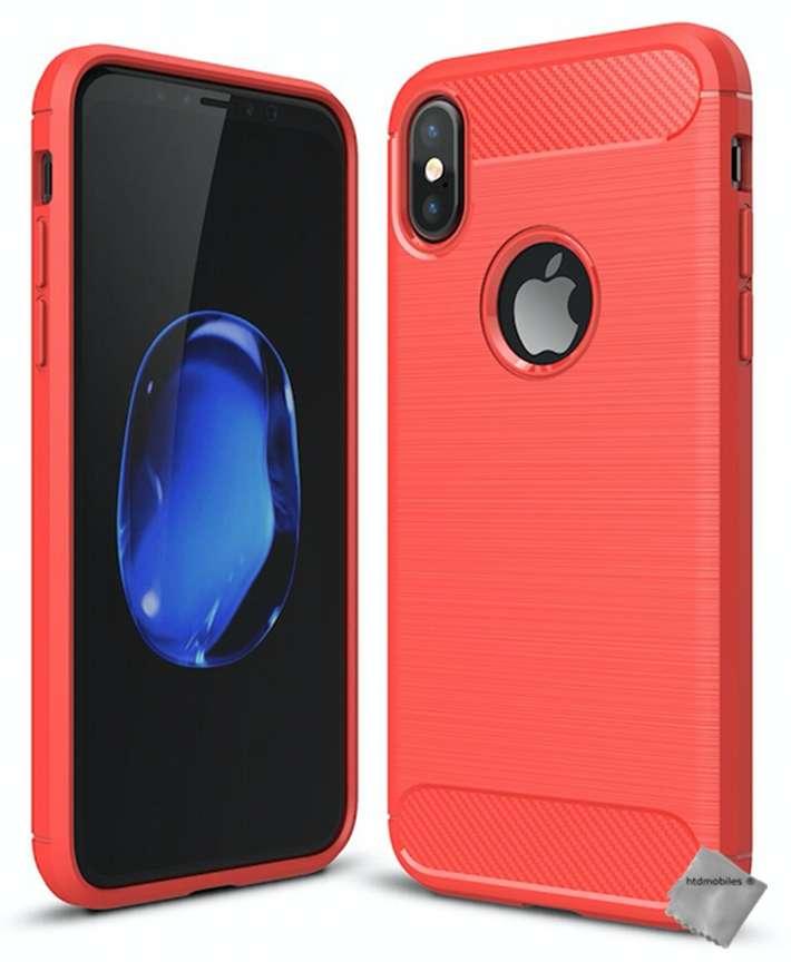 Housse-etui-coque-silicone-gel-carbone-pour-Apple-iPhone-XS-verre-trempe