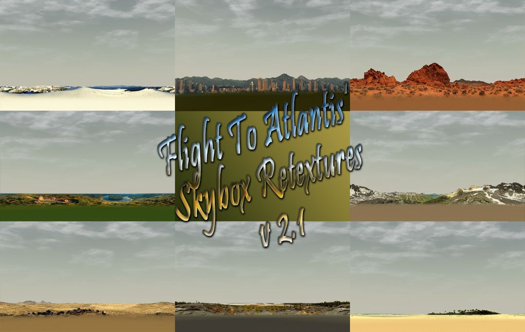 My Downloads - TexMod Packs: In-Game Skybox ReTextures - Screenshot Collage Displaying All Eight Skybox Retextures in This Final Skybox Update, v2.1, Image 01