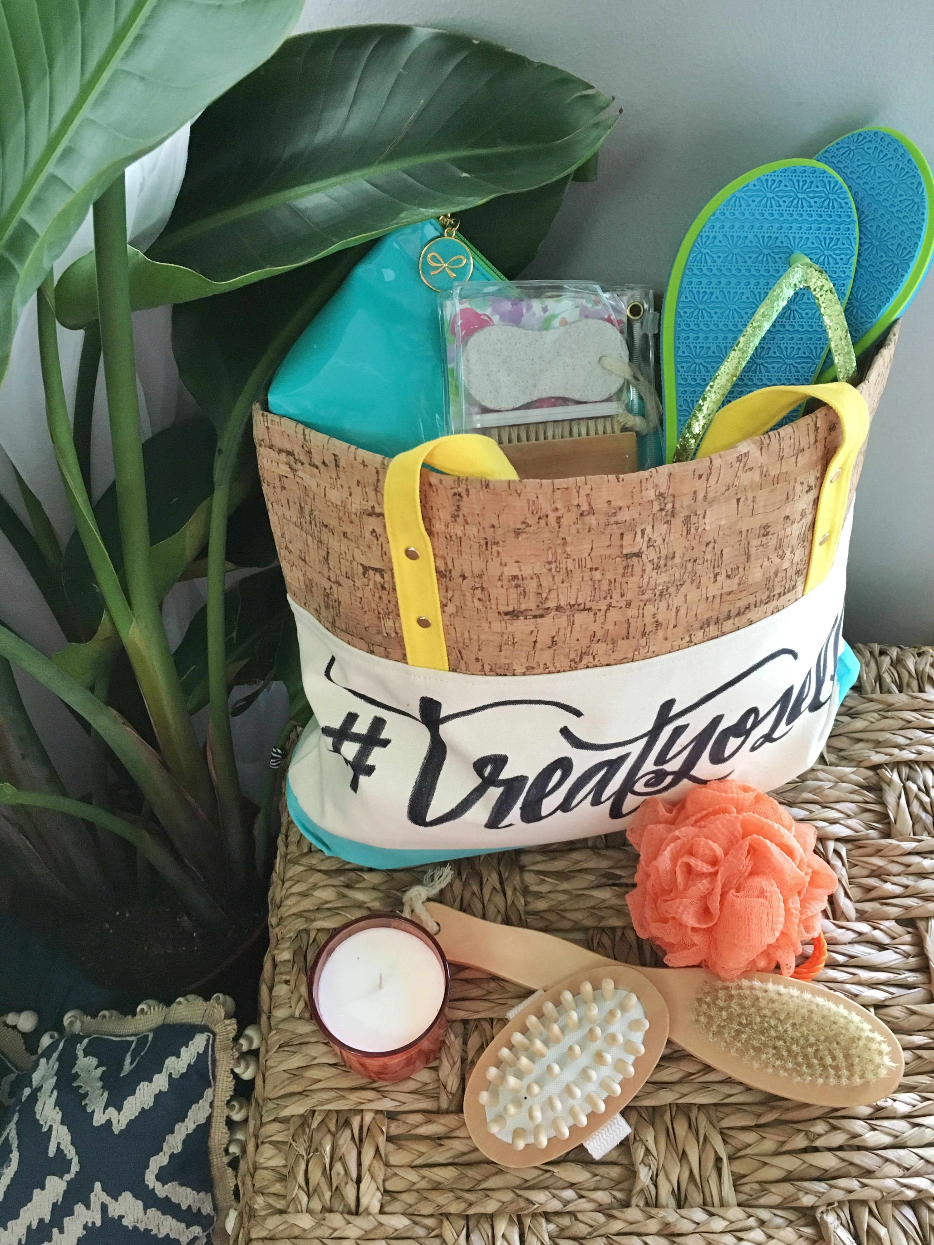 Treat Yoself Tote Bag Gift Basket DIY