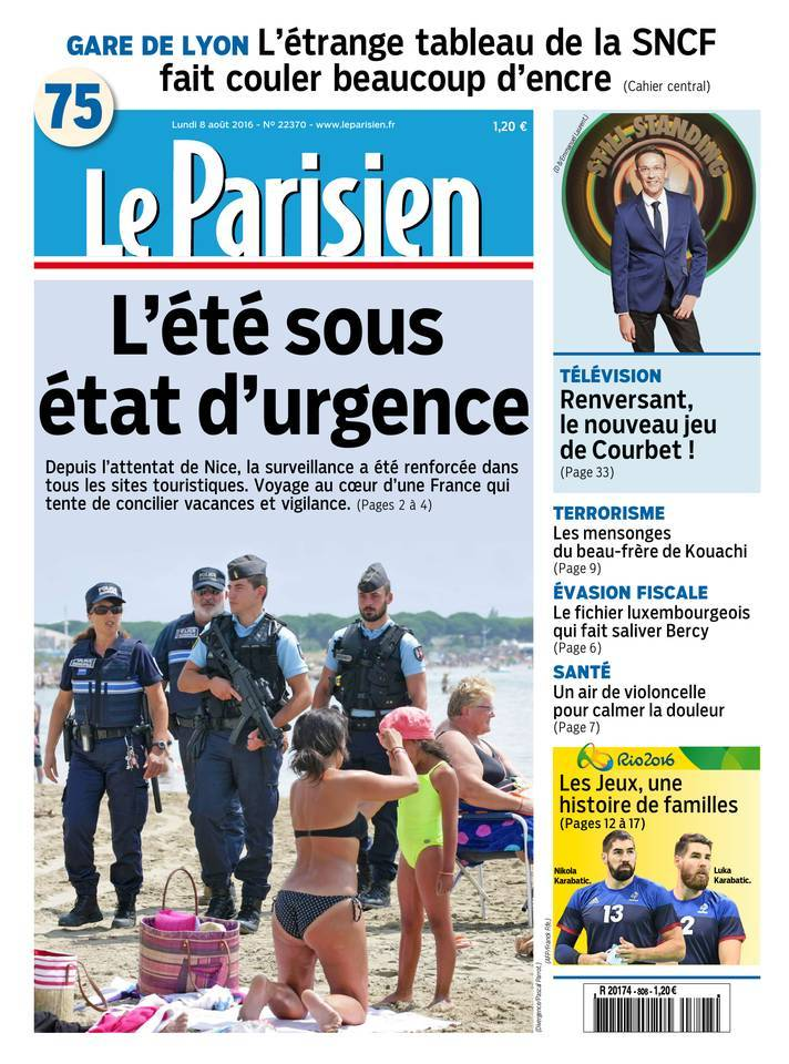 Le Parisien et Journal de Paris du Lundi 8 Aout 2016