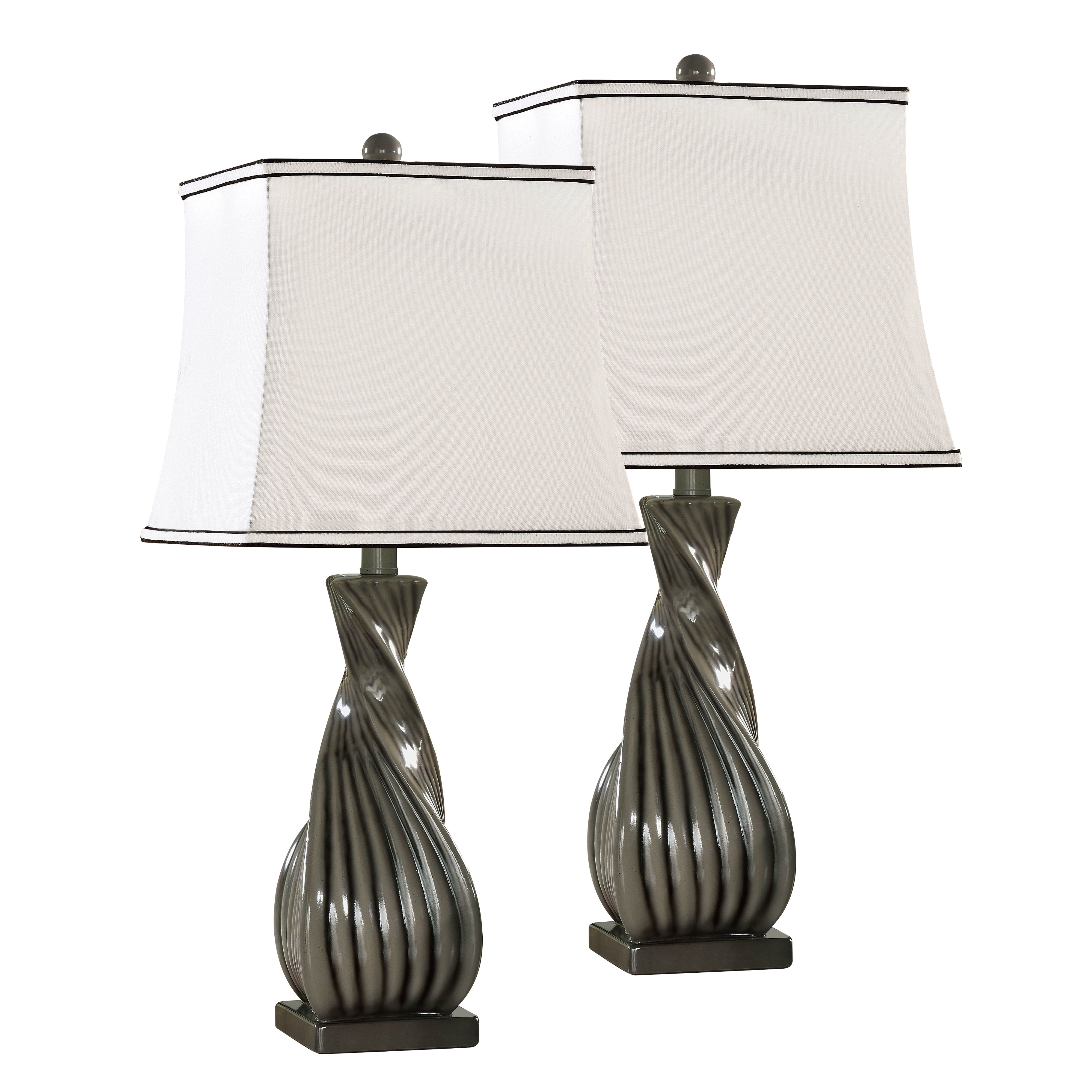 Details About Grain With Fabric Shade Contemporary Table Lamps Set Of 2