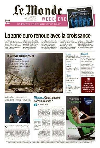 Le Monde du Dimanche 1 et Lundi 2 Mai 2016