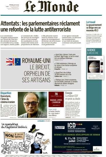 Le Monde du Mercredi 6 Juillet 2016