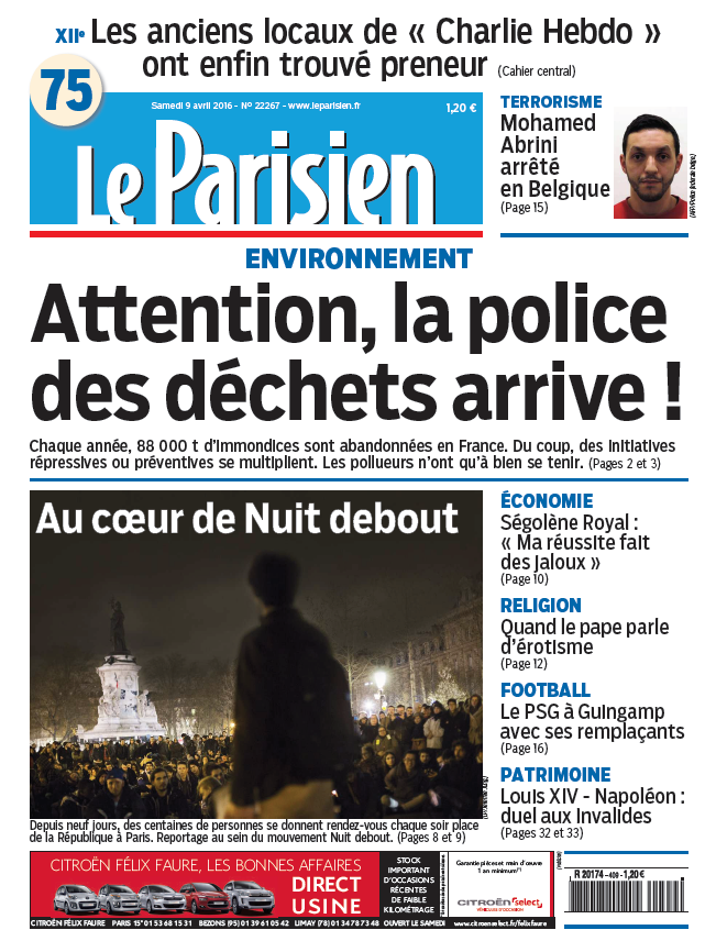 Le Parisien + Journal de Paris du Samedi 9 Avril 2016
