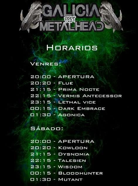 Galicia Metalhead Fest - horarios