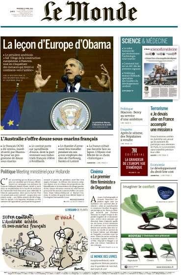 Le Monde du Mercredi 27 Avril 2016