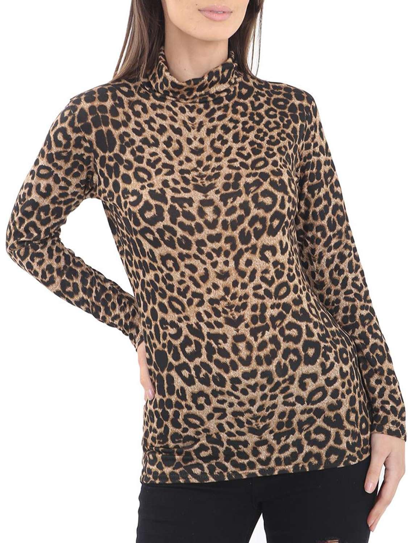 Women Ladies Leopard Long Sleeve Polo Neck Poloneck Jumper Top 08-26