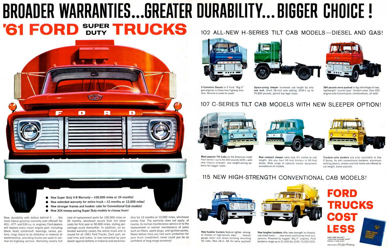 The 1961 Ford Super Duty Trucks. Broader Warranties... Greater Durability... Bigger Choice!