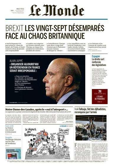 Le Monde du Mardi 28 Juin 2016